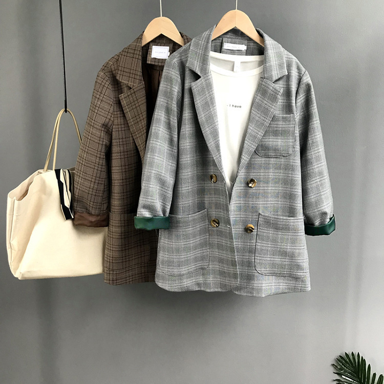 Autumn Women Jackets Blazer Work Outfit Checkered Ringer Sleeve Pocket Loose Cardigan Office Wear Brown Gray Plaid Outwear pocket