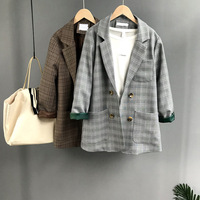 Autumn Women Jackets Blazer Work Outfit Checkered Ringer Sleeve Pocket Loose Cardigan Office Wear Brown Gray Plaid Outwear