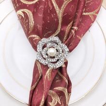 12PCS hotel wedding napkin ring rose pearl buckle alloy diamond