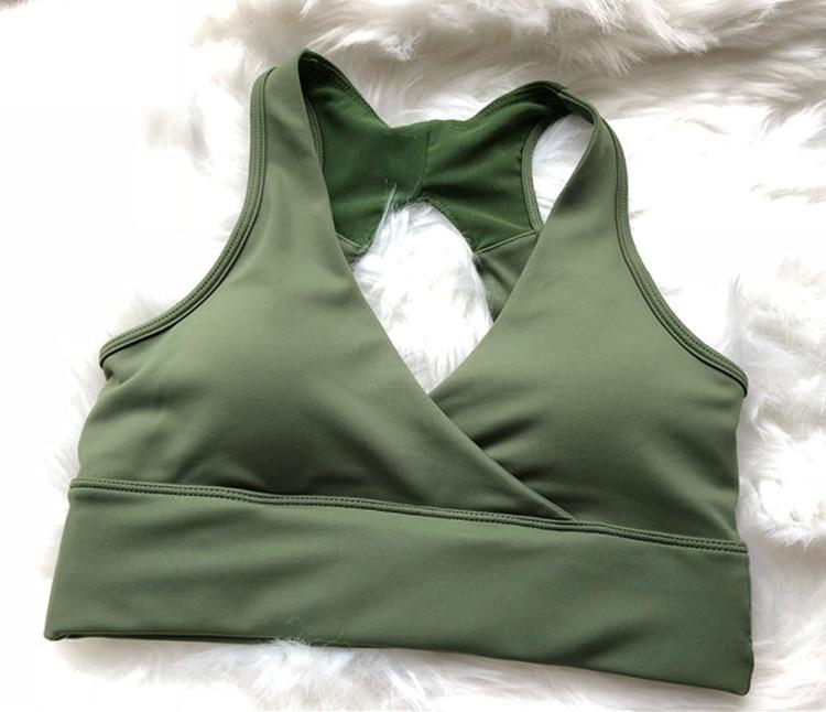 Open Back sports bra Deep V sexy yoga bra Racerback mesh crop top push up padded gym bra green fitness bra running active wear 7