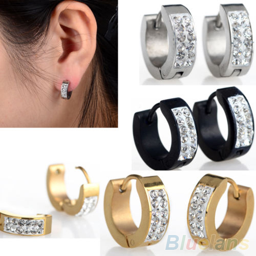 Uni Punk Rhinestones Inlaid Anium Steel Ear Studs Hoop Huggie Earrings 4rsw