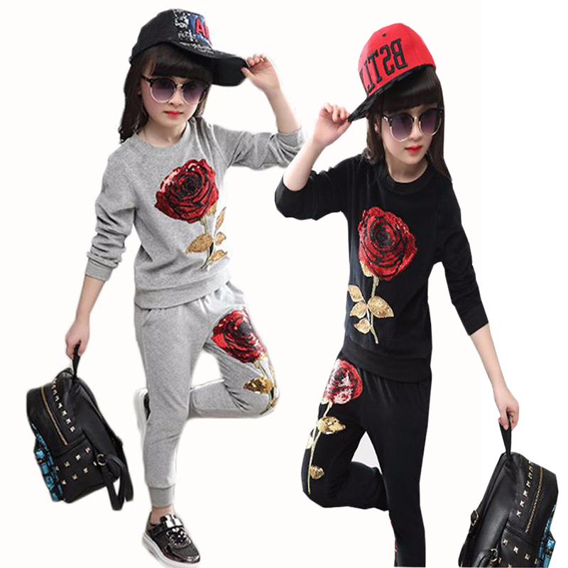 Two Pieces Girls Black Long Sleeve T-Shirt Flowers Print Pants Clothes Set Outfit for 3-4 Years Old Girls
