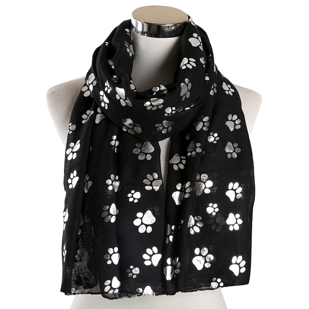 Winfox Fashion Black White Dog Paw Scarf Shawl Women Foil Sliver Bronzing Scarf Female Stole