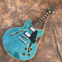 New Custom Guitar, Jazz Electric Guitar, Hollow Blue Jazz Guitar, Free Shipping, Real Guitar Photo!