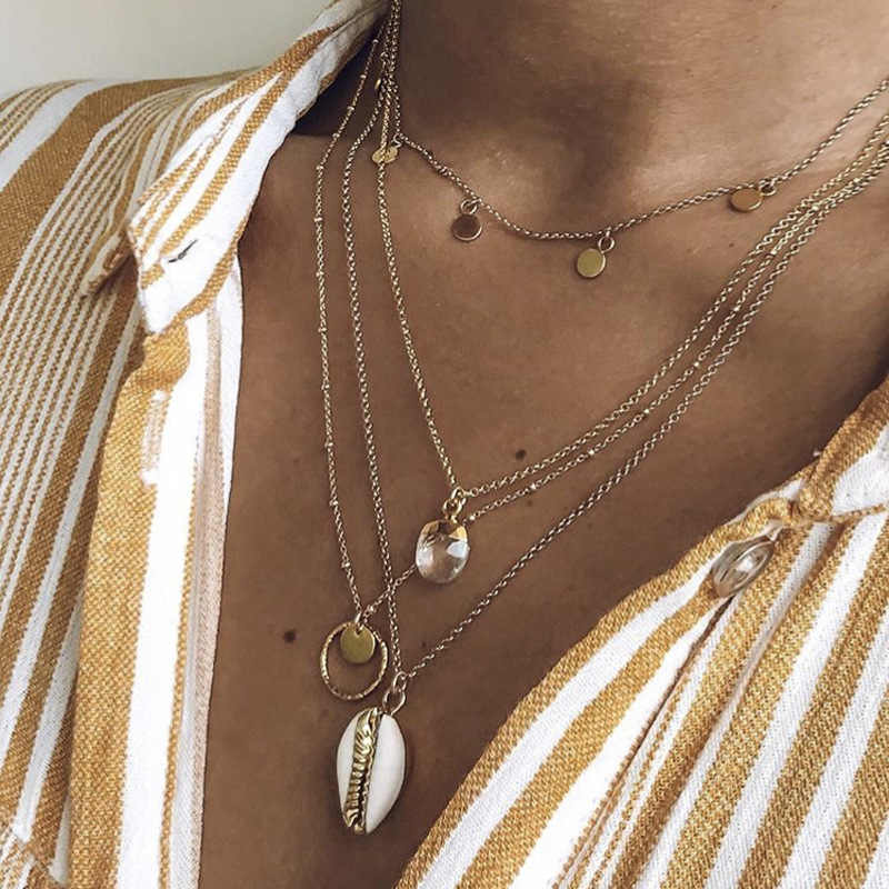 Vintage Gold Circle Shell Cowrie Choker Necklace for Women Multilayer Chain Sequin Coin Pendant Long Necklace Bohemian Jewelry