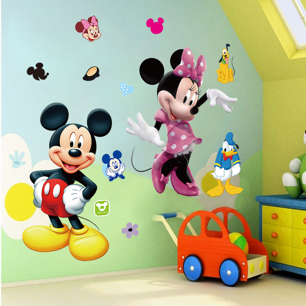 . US  2 91 19  OFF 2018 New Mickey Mouse Minnie Vinyl Mural Wall Sticker  Decals Kids Nursery Room Decor in Wall Stickers from Home   Garden on