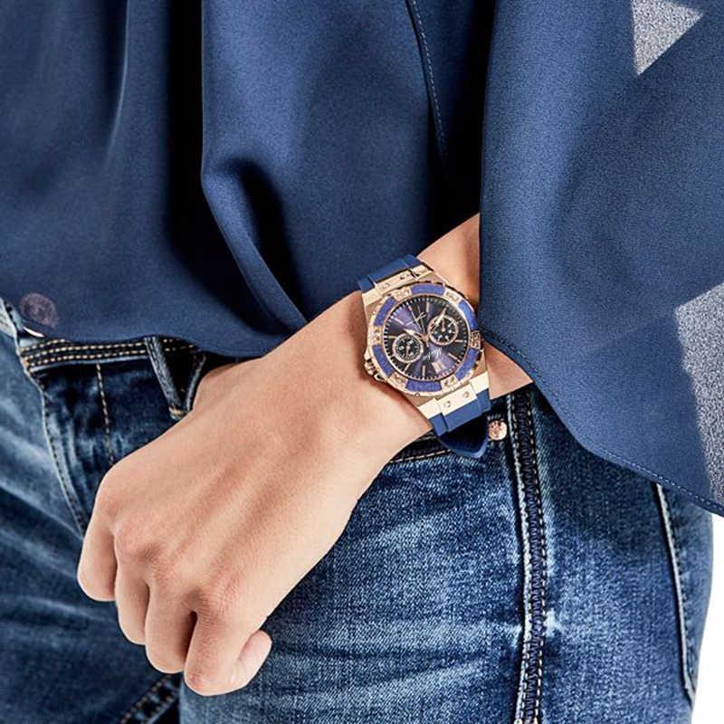 MISSFOX Relógios Chronograph Rose Gold Relógio Do Esporte Das Senhoras das Mulheres Diamante Azul Xfcs Feminino Analógico Quartz relógio de Pulso da Faixa de Borracha