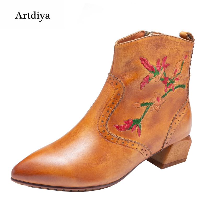 Artdiya Original Folk Style Handmade Embroidery Genuine Leather Boots 2018 Autumn Winter New Retro Cowhide Ankle Boots 58505-102 цены онлайн