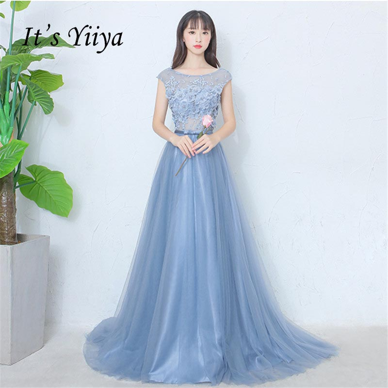 It's Yiiya Blue Illusion Tulle Flowers Floral Backless Zipper Elegant   Evening     Dress   Floor Length Party Gown   Evening   Gowns LX052