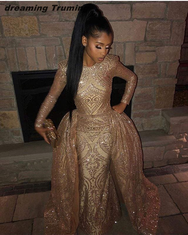 Prom Dress With Detachable Train: Glitter 2019 Gold Prom Dresses Long With Detachable Train