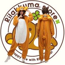 Nueva Moda Anime Rilakkuma Alta Calidad Polar Traje Pijamas Animal Cosplay/Del Partido Del Traje Adulto Unisex Onesie ropa de Dormir
