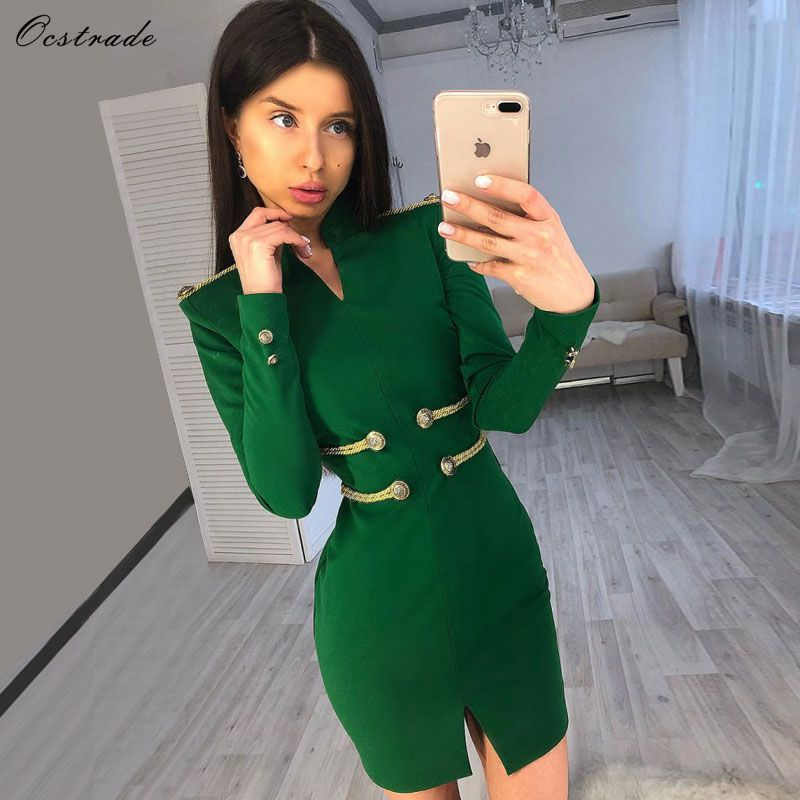 Ocstrade Christmas Party 2019 High Quality New Fashion Women Embellished Green Sexy Bandage Dress Long Sleeve Bodycon Dress-in Dresses from Women's Clothing    1
