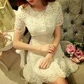 Original 2016 Brand Vestidos De Fiesta Plus Size Slim Elegant Casual Short Sleeve Pearls White Summer Lace Dress Women Wholesale