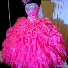 Фуксия Дешевые Бальные платья бальное платье без бретелек из органзы с оборками блестящие вечерние платья 16