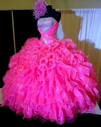 Fuchsia 2019 Cheap Quinceanera Dresses Ball Gown Strapless Organza Ruffles Sequins Sparkle Party Sweet 16 Dresses