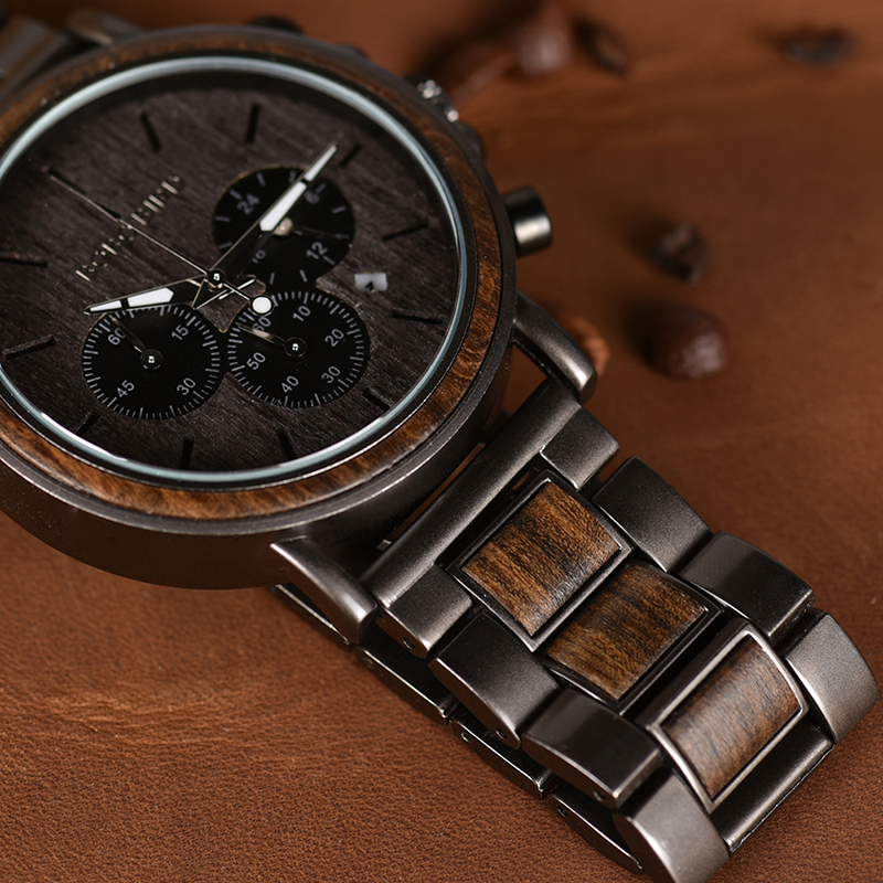 BOBO BIRD P09 Wood and Stainless Steel Watches Mens Chronograph Wristwatches Luminous Hands Stop Watch dropshipping 3