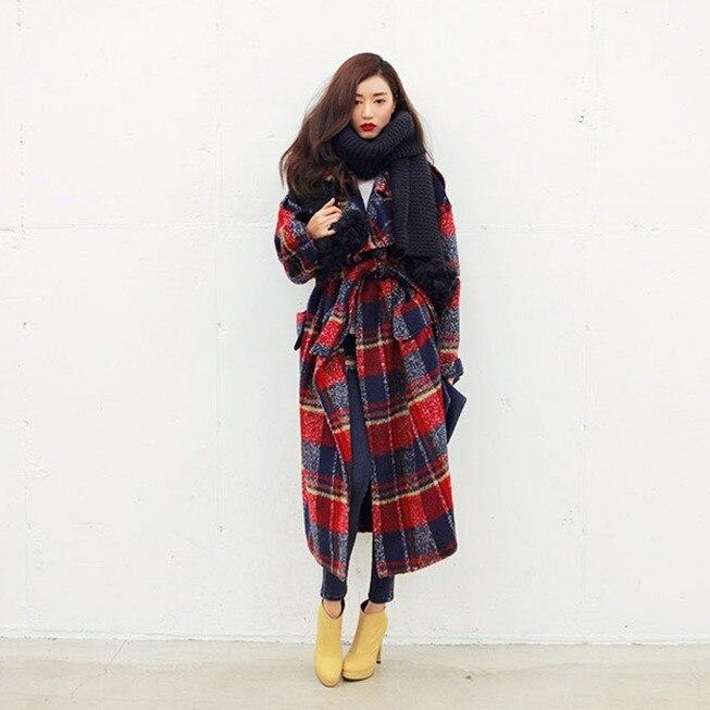 Vêtements Lâche Femmes Surdimensionné Décontracté De Dessus Pour hiver Plaid Maxi Piste Automne Manteau Royaume Laine 2019 uni Haute Couture Long Nouveau wOqTp4w