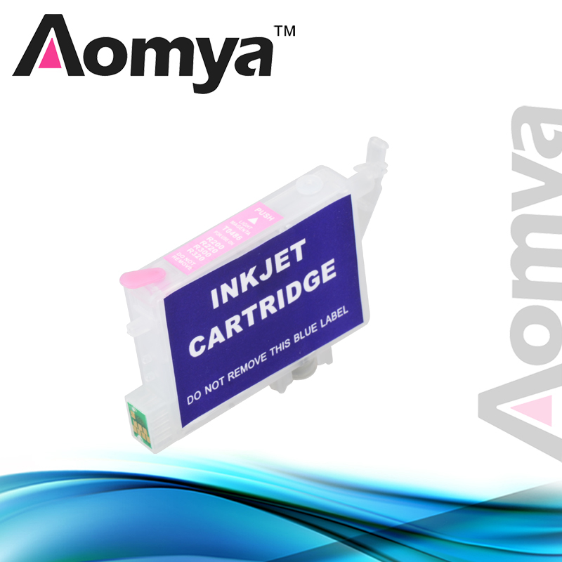 1pcs Light Magenta T0486 Empty Refillable Ink Cartridge For Epson Stylus Photo R200,R220,R300,R300M,R320,R340,RX500,RX600,RX620 image