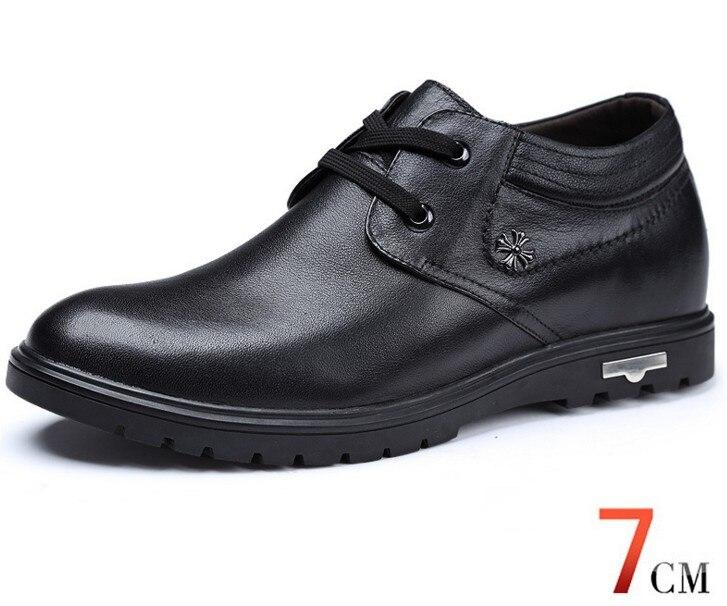 Haute qualité en cuir véritable chaussures pour hommes marcher plus grand 7 CM, décontracté augmenter élévation chaussures baskets homme chaussures - 3