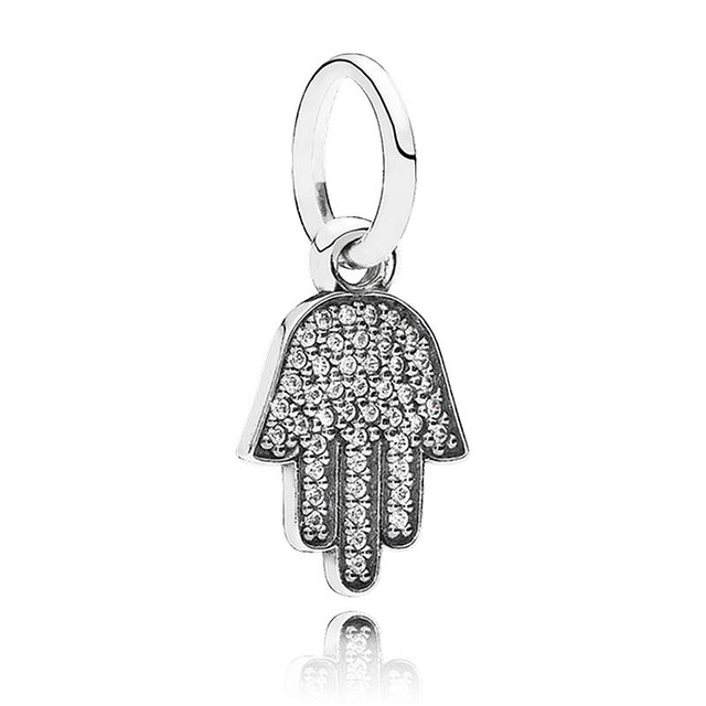 Authentic 925 sterling silver bead charm hamsa hand with crystal authentic 925 sterling silver bead charm hamsa hand with crystal pendant beads fit pandora bracelet bangle mozeypictures Gallery