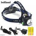 Head light Head lamp Cree XM-L T6 led 4000LM recarregável Faróis Faróis luzes da lâmpada + 2*5000 mah bateria + Car/Carregador AC