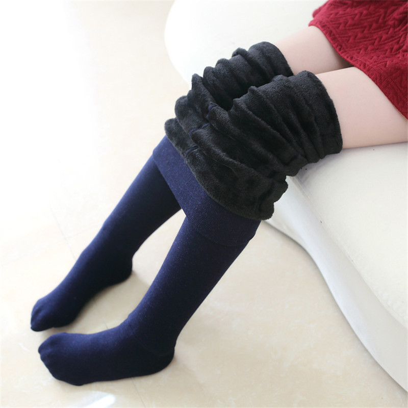 Winter Girls Tights Thicken Baby Girl Pantyhose Fashion Cotton Cute Kids Stocking Fur Elastic Waist Warm Girl Pantyhose