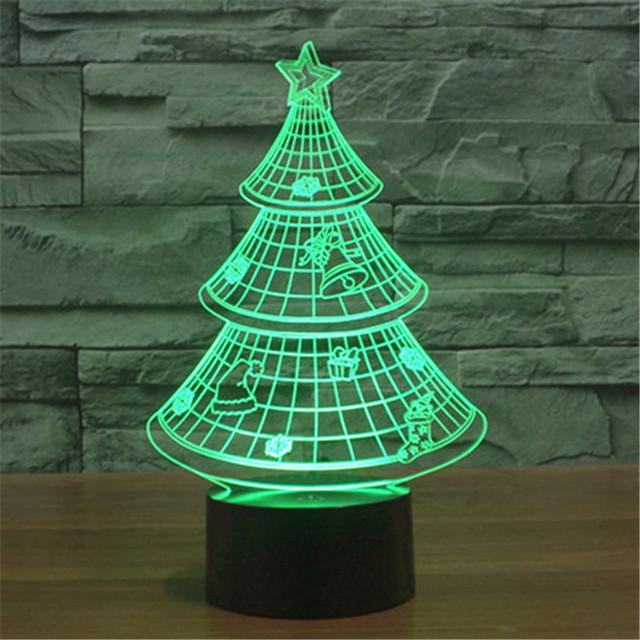 Novo Colorido USB 3D Árvore de Natal Casa Decoração da Mesa de Escritório Quarto Candeeiro de Mesa Luzes Da Noite Criança Presente de Natal 3D-TD130
