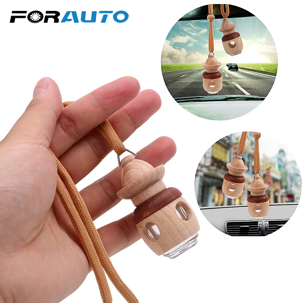 Air Freshener Car Hanging Perfume Bottle Empty Glass Bottle For Essential Oils Diffuser Rearview Mirror Ornament Car-styling