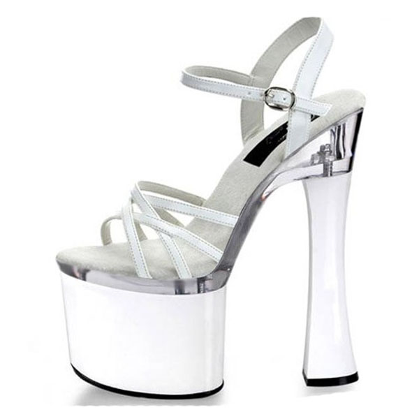 ФОТО Sales champion the new package with simulation skin white thick with sandals 18 cm high heels