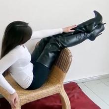 Chaussures femme; кожаные чулки; женские Сапоги выше колен; пикантные женские зимние сапоги на высоком каблуке; высокие эластичные сапоги