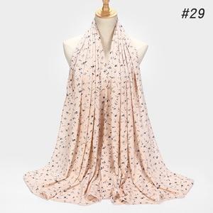 Image 5 - ¡Novedad de 2019! bufanda de Chifón con estampado de burbujas, diseño de flores, chales, pañuelos musulmanes, pañuelo para la cabeza, turbante, diadema, pañuelos largos