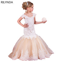 Girls Party Wear Clothing For Children Summer Sleeveless Lace Princess Wedding Dress Girls Teenage Well Party
