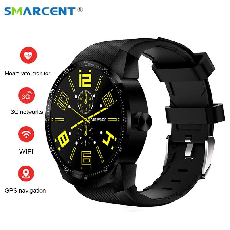 SMARCENT K98H Android 4.4 Smart Watch IPS Screen 3G SIM WiFi Smartwatch MT6572A Dual core GPS Fitness Tracker Wristwatch pk K88H interpad dm98 smart watch big screen 2 2 inch ips hd huge 900mah battery android phone clock support gps wifi sim smartwatch