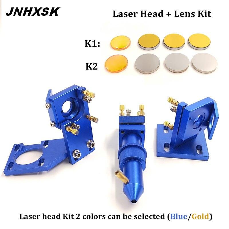JNHXSK 1pc Dia 20mm F50.8 Focusing Lens + 3pcs Dia 25mm Si / Mo Reflective Mirrors+CO2 Laser Head Set Mounting Holder Set