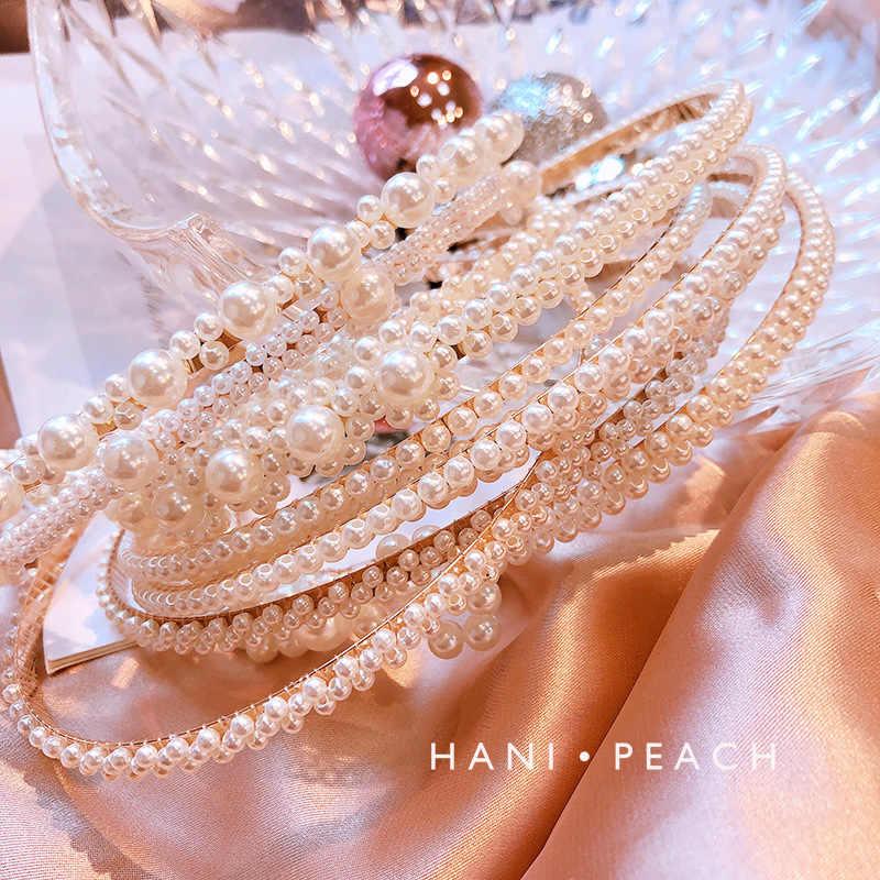 Moda büyük inci bandı kadınlar için vahşi kişilik hairband sevimli kulak kristal saç aksesuarları parti takı knotbow headdress