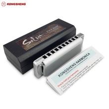 KONGSHENG Solist 10 Delik Diatonic Armonika KongSheng Solist Halk Blues Harp Ağız Organ Anahtar C Profesyonel Müzik Aletleri