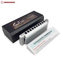 KONGSHENG Solist 10 otwory harmonijka diatoniczna KongSheng Solist Folk Blues harfa usta Organ klucz C profesjonalne instrumenty muzyczne