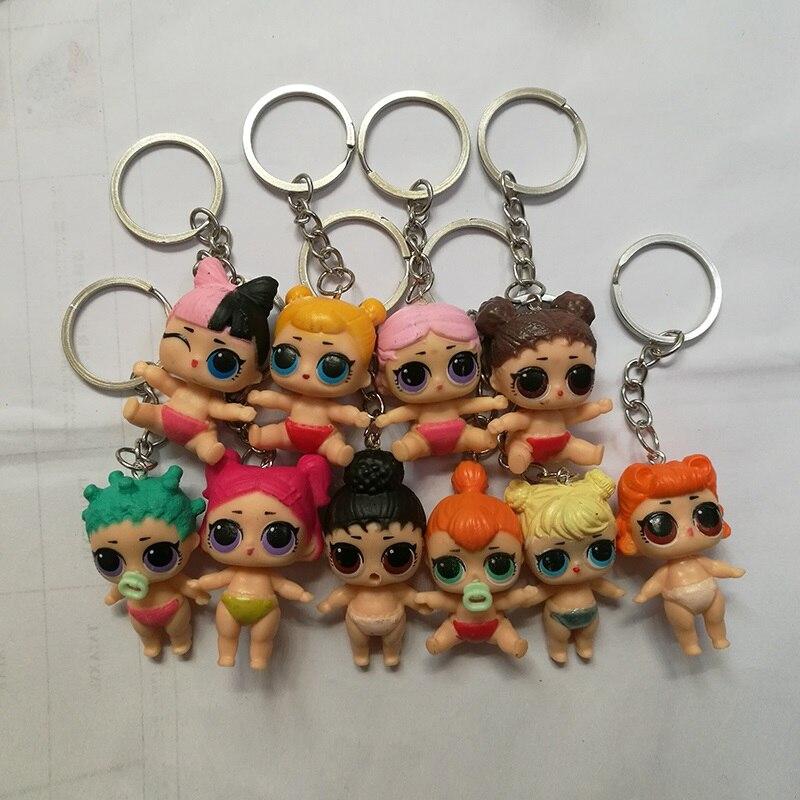 1pc Random Send Cute PVC LoL Baby Dolls Keychain Key Ring For Men Women Girls Bag Pendant Charms Key Chains Jewelry Gift