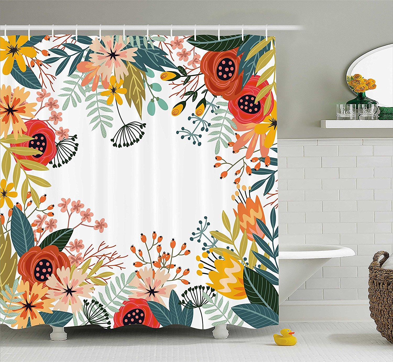 Floral Shower Curtain Vintage Exotic Summer Flowers Botanical Natural Framework Colorful Art Illustration Bathroom Decor Set Shower Curtain Floral Shower Curtainshower Curtain Vintage Aliexpress