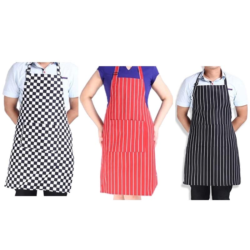 1 grande poche noir et blanc bande tablier cou ceinture adjustablestripe bib tablier de cuisine