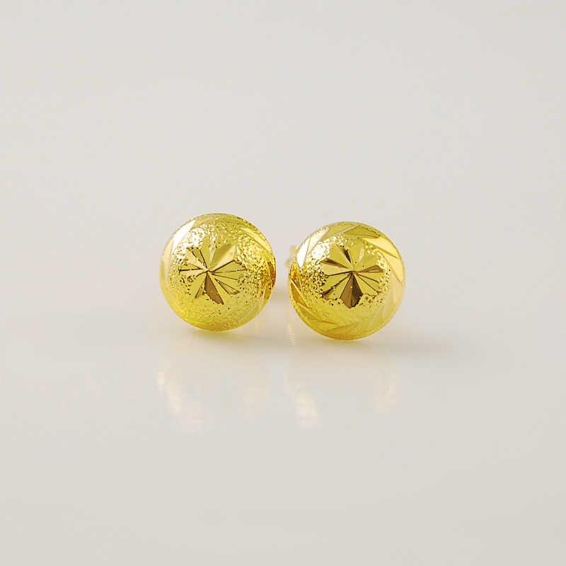 الذهب الخالص اللون 8 ملليمتر الفطر شكل أقراط للنساء ، الأزياء 24 كيلو الذهب gp المجوهرات النسائية ،