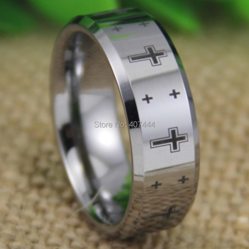 US $19 99 |Free Shipping YGK JEWELRY Hot Sales 8MM Shiny Silver Bevel The  New Christian Cross Men's Tungsten Wedding Ring-in Wedding Bands from