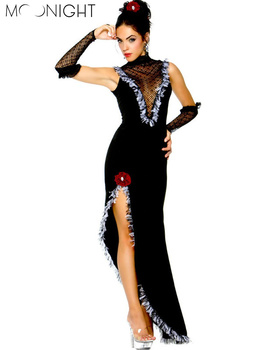 MOONIGHT New Ballroom Dance Dress Samba Costume For Women Sexy Solid Salsa Dresses with Tassels Latin Dress