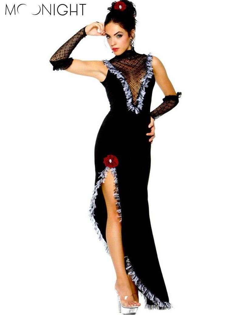 MOONIGHT New Ballroom Dance Dress Samba Costume For Women Sexy Solid Salsa Dresses with Tassels Latin Dress