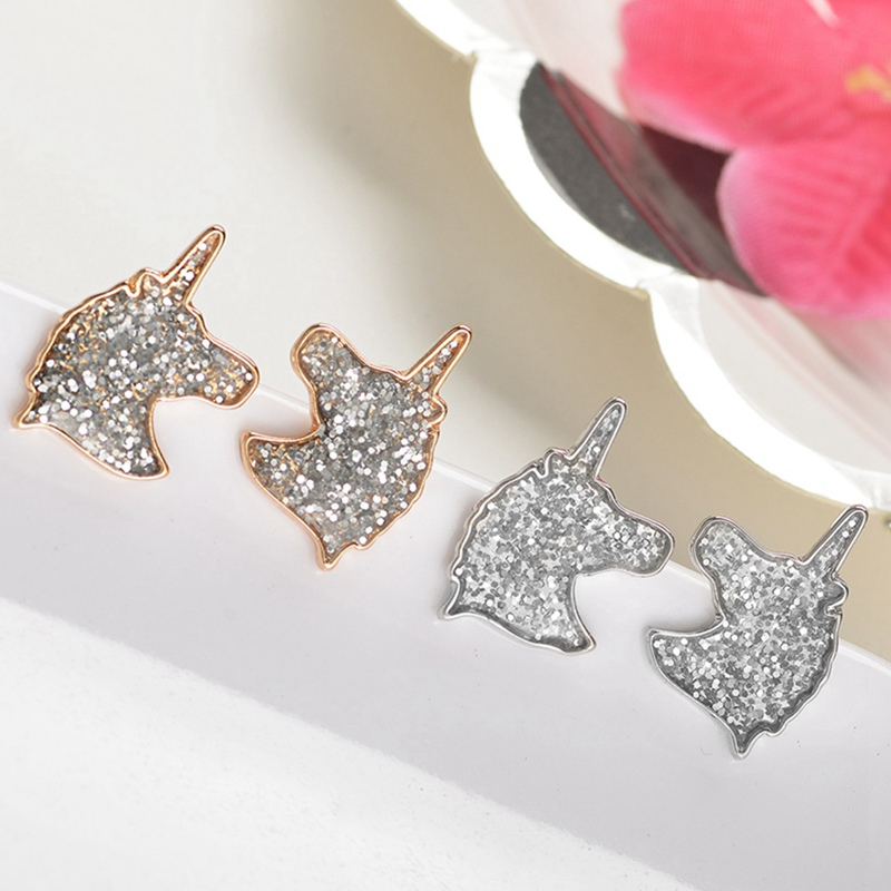 Provided Jisensp Unique Jewelry Cartoon Unicorn Stainless Steel Earrings For Women New Year Gift Cute Animal Small Earrings Bijoux Femme Online Discount Jewelry & Accessories