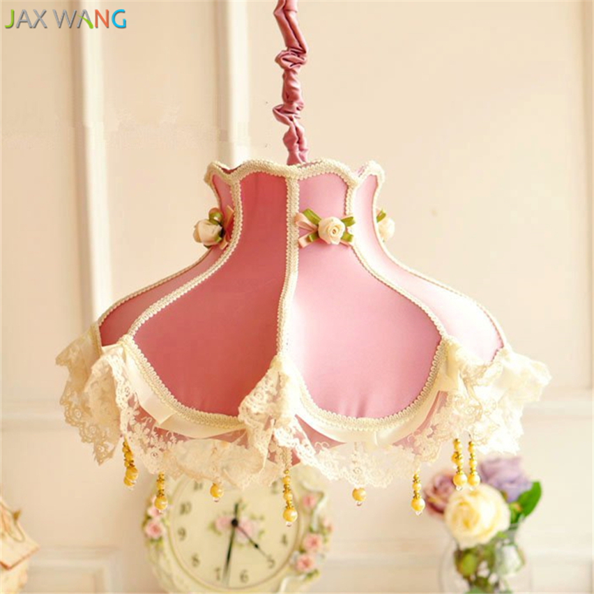 Ceiling Lights & Fans Pendant Lights European Pink Lace Pendant Lights Fabric Lampshades Led Hang Lamp For Princess Room Girl Bedroom Indoor Lighting Fixtures Decor