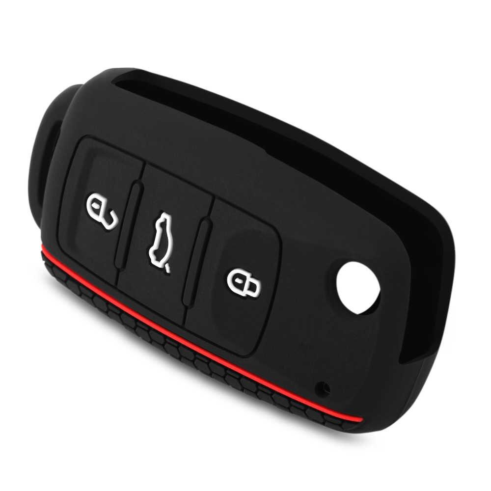 Funda para llave de coche para funda de silicona para VW passat b5 Volkswagen polo golf 4 5 6 jetta mk6 tiguan Gol crossFox Eos Scirocco