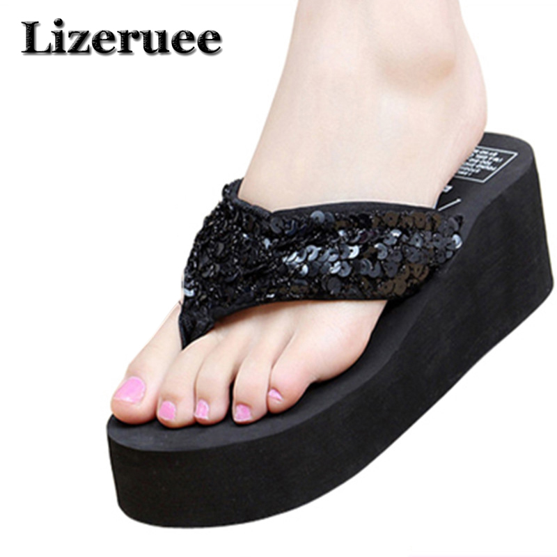 Summer Non-Slip Bling Sandals Female Slippers For Women Flip-Flop Sandals Platform Indoor Flip Flops Sandals HS086 bohemian rhinestones and flip flop design sandals for women