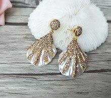 1 Pair Sea Shell Earrings Paved Golden Crystal Rhinestone Beads Beach Conch Dangle Earring Handmade Jewelry For Women ER240