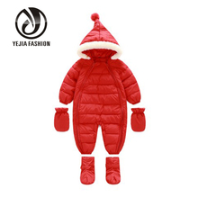 Yejia Fashion Winter Thicken Cotton Warm Infant Climb Clothes Newborn Baby Boys Girls Long Romper Hooded Jumpsuit 2016